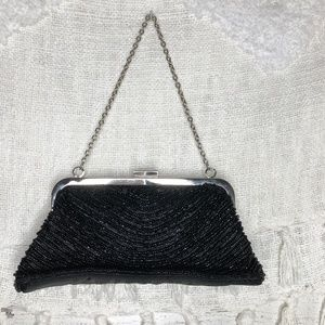 Vintage beaded evening black clutch